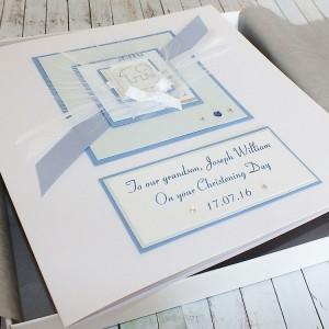 Blue Elephant Luxury Boxed Christening Card