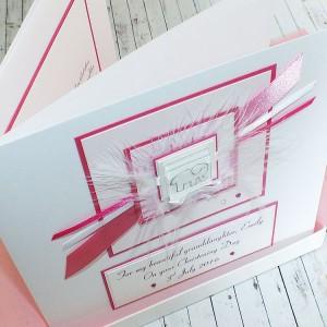 Pink Elephant Luxury Boxed Christening Card -large