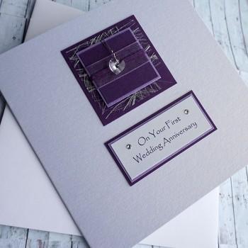 Purple Sparkle Anniversary Card