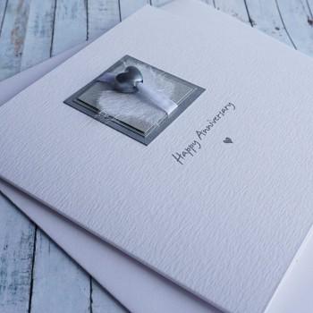 Silver Heart Bead Wedding Card