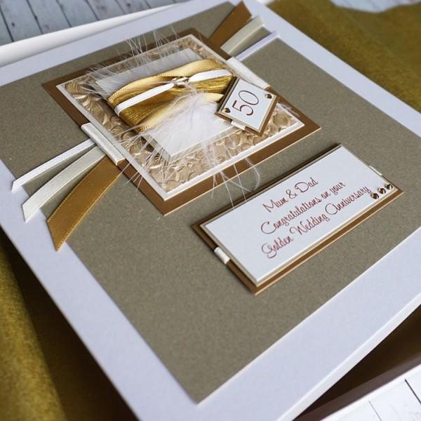 Gold Sparkle Wedding Anniversary Card Golden Wedding Anniversary