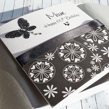 Black & White Butterflies Boxed Birthday Card