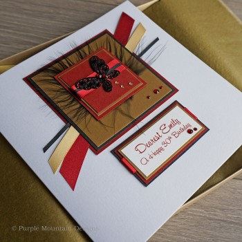 Red, gold and black butterfly birthday card 19cm