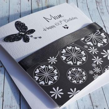 Black & White Butterflies Birthday Card