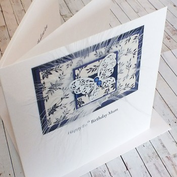 Blue Lace Butterfly Birthday Card