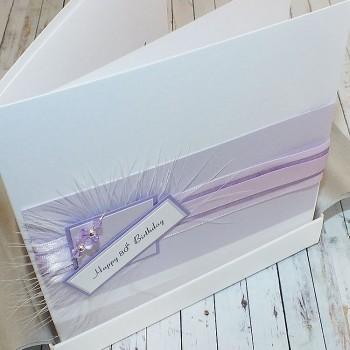 Lilac butterfly stripes birthday card