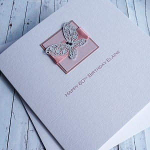 Pink Lace Butterfly Birthday Card