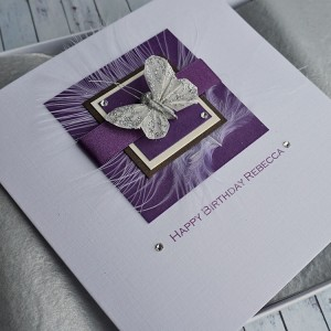 Purple Butterfly Handmade Birthday Card