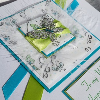 Spring Butterfly Handmade Birthday Card - Larger size 19cm