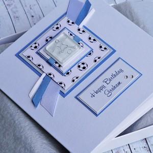Football Birthday Card - Blue & White
