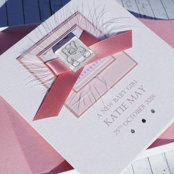 Teddy New Baby Girl Card