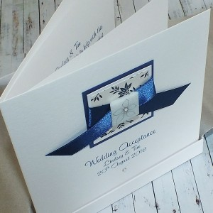Blue Wedding Acceptance Card
