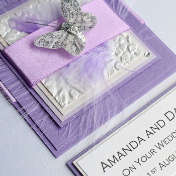 Lilac Feathers Wedding Card - Larger size