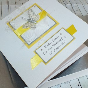 Yellow & Silver Boxed Wedding Card