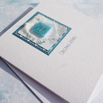 "Handmade Christmas Card ""Blue Sparkly Snowflake"""