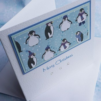 "Handmade Christmas Card ""Cute Penguins"""