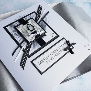 "Luxury Boxed Christmas Card ""Black & White Penguin"""
