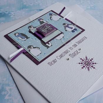 "Luxury Christmas Card ""Playful Penguins"""