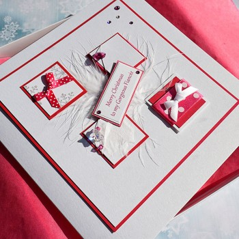 """Luxury Boxed Christmas Card """"Pink Boxes"""""""