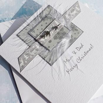 """Luxury Christmas Card """"Silver Reindeer"""""""