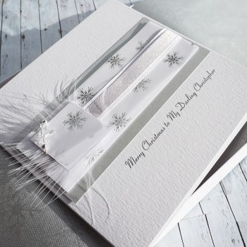 "Luxury Boxed Christmas Card ""Silver & White"""