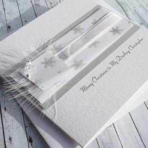 "Luxury Handmade Christmas Card ""Silver & White"""