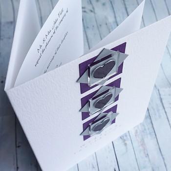 "Handmade Wedding Invitation ""Assynt"" - 3 hearts"