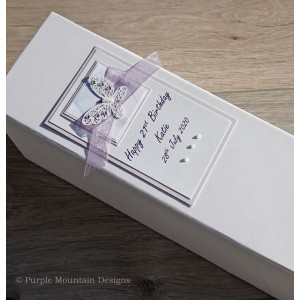 Lilac butterfly birthday bottle gift box