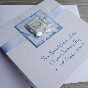 Christening Card Blue Elephant