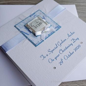 Christening Card Blue Elephant