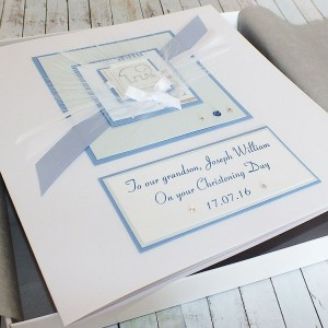 Blue Elephant Luxury Boxed Christening Card