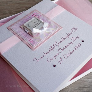 Pink Elephant Luxury Boxed Christening Card