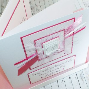 Pink Elephant Luxury Boxed Christening Card -large