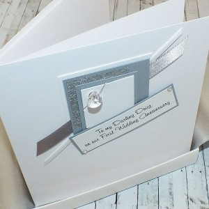 1st Wedding Anniversary Card Crystal Heart