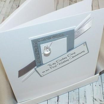 1st Wedding Anniversary Card Crystal Heart