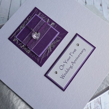 Purple Sparkle 1st Anniversary Card