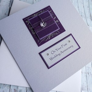 Purple Sparkle Anniversary Card