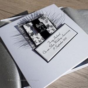 Black & White 25th Wedding Card