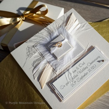 Golden wedding card - elegance
