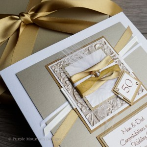 Gold Sparkle Large Wedding Anniversary Card