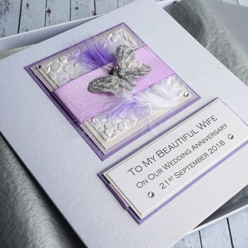 Lilac Feathers Anniversary Card