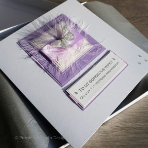 Lilac Feathers Anniversary Card - Larger size