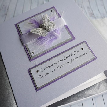Silver & Lilac Boxed Anniversary Card