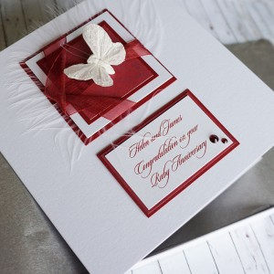 Boxed Ruby Wedding Anniversary Card