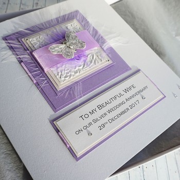 Lilac Feathers Silver Anniversary Card