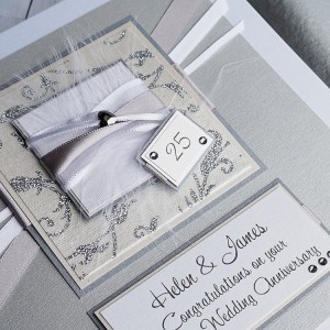 "Silver Wedding Anniversary Card ""Champagne"""