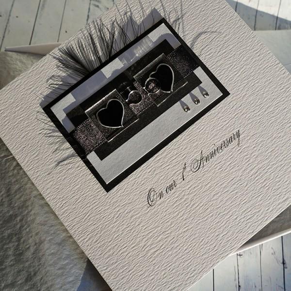 1st wedding anniversary card 1st anniversary card husband purple