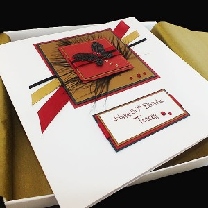 Red, gold and black butterfly birthday card