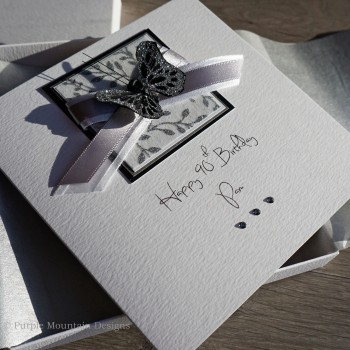 Black & Silver Butterfly Boxed Birthday Card