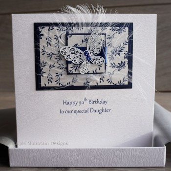 Blue Lace Butterfly Boxed Birthday Card